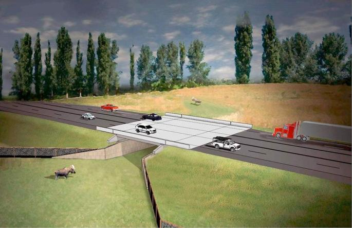 Artist's rendering of the proposed wildlife crossing south of Williston